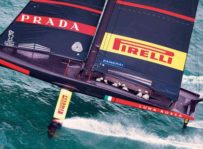 Luna Rossa America's Cup racing boat in action on the water